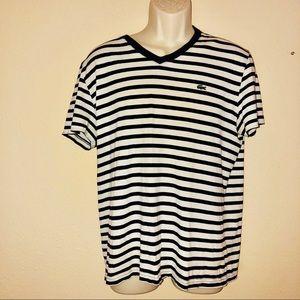 Lacoste V neck striped short sleeve size 5 med